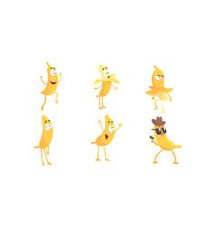 cartoon banana character doing various things vector image