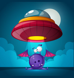 cartoon characters horror ufo vector image
