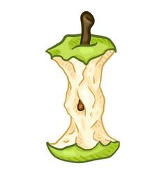 Cartoon green apple core vector