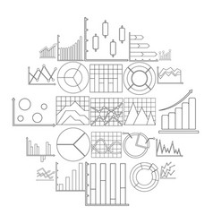 chart diagram icon set outline style vector image