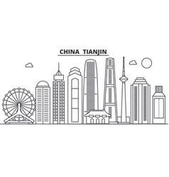 china tianjin architecture line skyline vector image