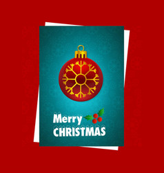 christmas card with red background and snow vector image