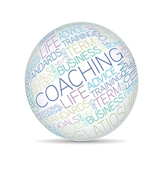 Coaching concept related words in sphere tag cloud vector