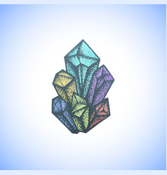 colored hand drawn crystal vector image