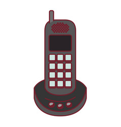 colorful graphic of cordless phone with dark red vector image