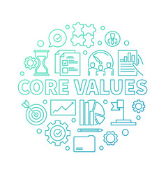 core values round modern outline vector image