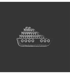 Cruise ship drawn in chalk icon vector