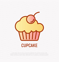 cupcake with berry thin line icon vector image
