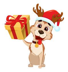 Cute dog wearing santa claus hat and deer antlers vector