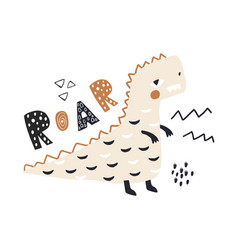 Cute hand drawn dinosaur say roar with lettering vector