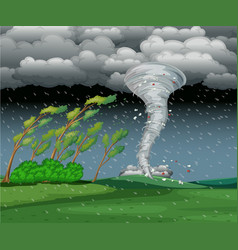 cyclone in the rainy storm vector image