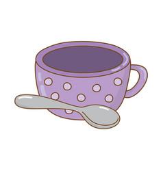 delicious chocolate mug with spoon vector image