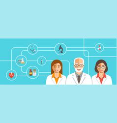 doctors team with medical icons vector image