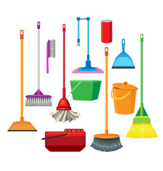 dustpans brooms mops cleaner supplies vector image