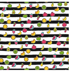 exotic fruits on stripes seamless pattern vector image