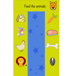 Feed animals children education game iq test vector