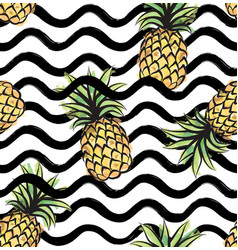 Fruit wave seamless pattern with pineapple food vector
