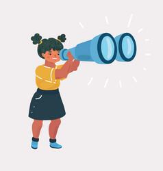 Girl explorer with binoculars vector