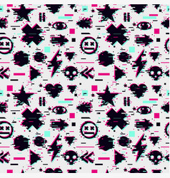 glitch seamless pattern with video games element vector image