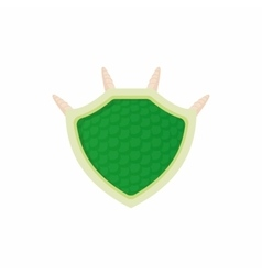 Green protective shield icon cartoon style vector