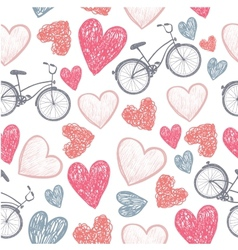 Hand drawn bicycle and hearts wedding valentine vector