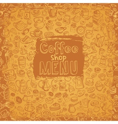 hand drawn coffee elements set vector image