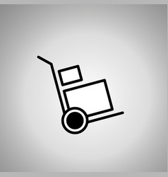 Hand truck icon hand track with boxes vector