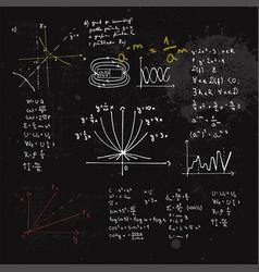 Handwritten mathematical formulas and graphs vector