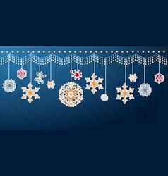 hanging christmas snowflake border vector image