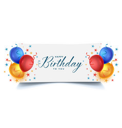 happy birthday celebration balloons card vector image