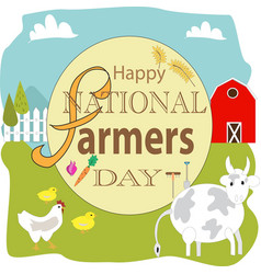 Happy national farmers day sign vector