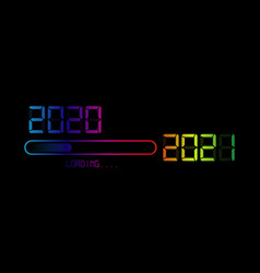 Happy new year 2020 with loading to up 2021 vector