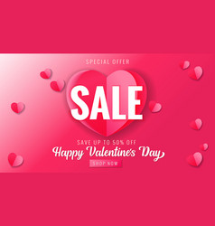 happy valentines day sale pink banner with heart vector image