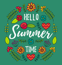 hello summer time fun quote vector image