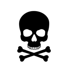 human skull isolated on blackcolor symbol vector image