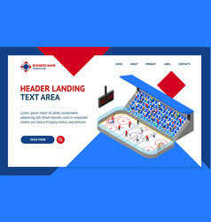 ice hockey arena competition concept landing web vector image