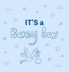 Its a boy greeting card bashower posters set vector