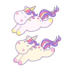 kawaii cute unicorns sflies and dreams pastel vector image