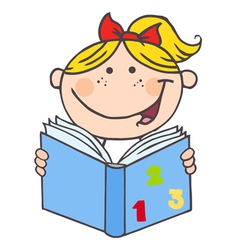 Kid Girl Reading A Book vector image