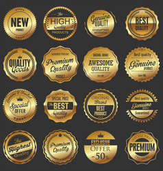 luxury quality golden badge retro collection 2 vector image