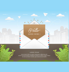 mail envelope with good news text vector image