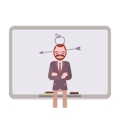Man against the blackboard with drawn apple and vector image