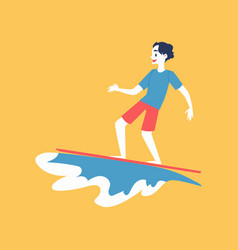 man character surfing and sea or ocean wave flat vector image