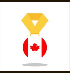 medal with the canada flag isolated on white vector image