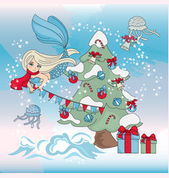 Mermaid decor christmas tree new year vector