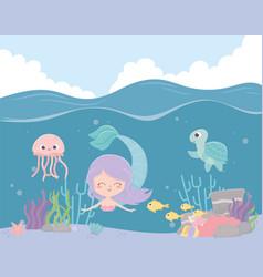 mermaid seahorse jellyfish fishes reef coral vector image