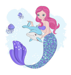 Mermaid toy underwater fairy animal vector