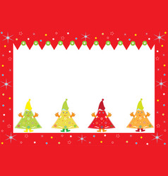 merry christmas postcard with smiles spruces vector image