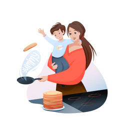 mother time with son concept vector image