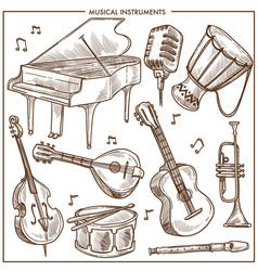 Musical instruments sketch icons collection vector
